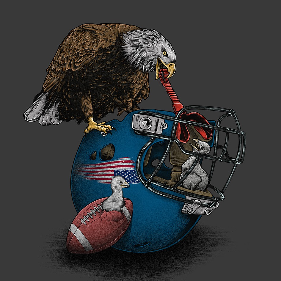 Bald eagle and football gear